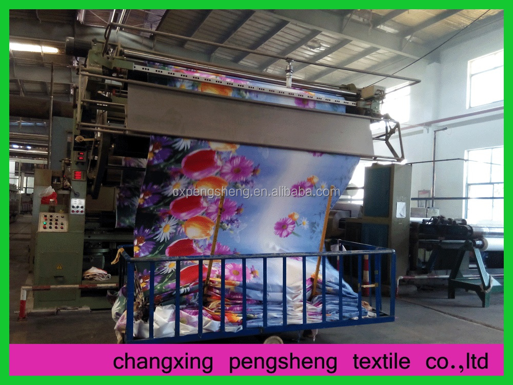 2015 Huzhou 100% Polyester 3d disperse printed fabric for bedding sets
