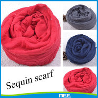 Wlosesale price red polyester Sequins scarf