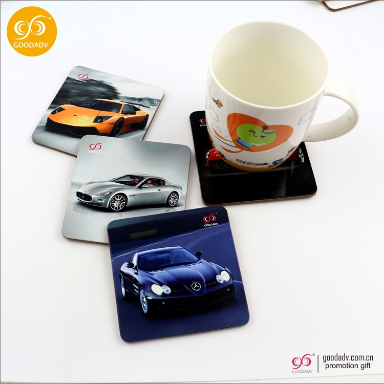 Advertising full color printing anti-slide square mdf cork cup coaster