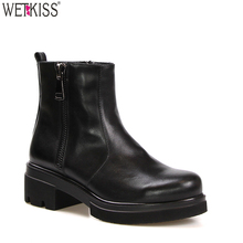 Factory Wholesale Ladies Winter Boots Middle Heel Leather Ankle Boots Women Footwear MOQ 1 Pair