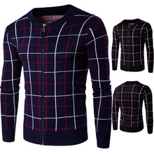 Wholesale Lower MOQ Round Neck Long Sleeve Zipper Thick Men's Plaid Winter Sweaters