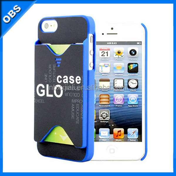 2014 HOT PC hard mobile phone case for iphone5 iphone5s with slot insert card function(OBS-PG6-M67902)