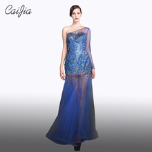 Caijia Heavy Beading Transparent One Shoulder Long Mermaid Dress