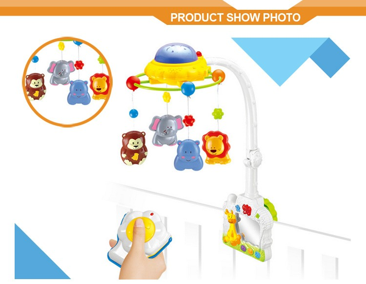 Electric hanger bed bell baby music mobile plastic toy with projector