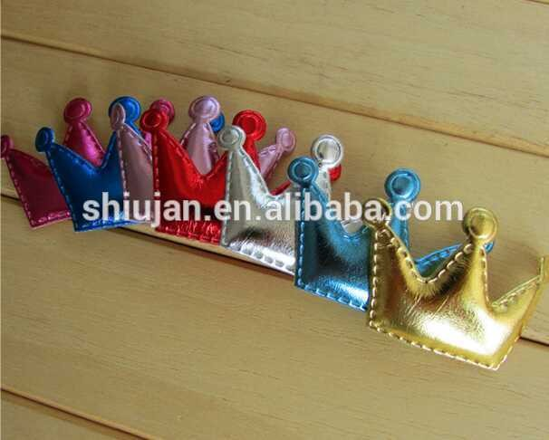 Custom high quality Ultrasonic embossed PU crown applique for kids