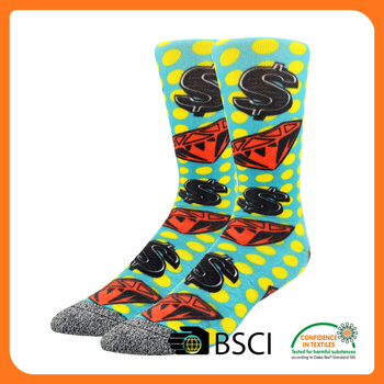 wholesale custom digital print sublimated socks printed