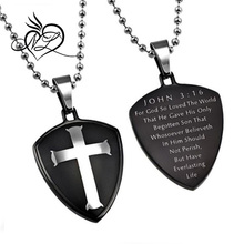John 3:16 Necklace, Cross Shield Pendant with Stainless Steel Ball Chain & Christian Bible Verse