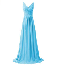 Wholesale Cheap Bridesmaid Dresses Long 2016 Chiffon Evening Dress with Pleats Women Prom Dresses LBL71