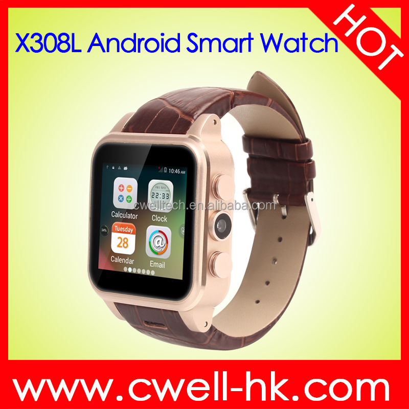 Smart X308L Leather Band Aluminum Alloy Body WIFI GPS 3G android hand watch mobile phone