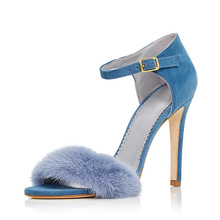 New arriveSummer blue leather top quality high heel true size ladies fur sandals