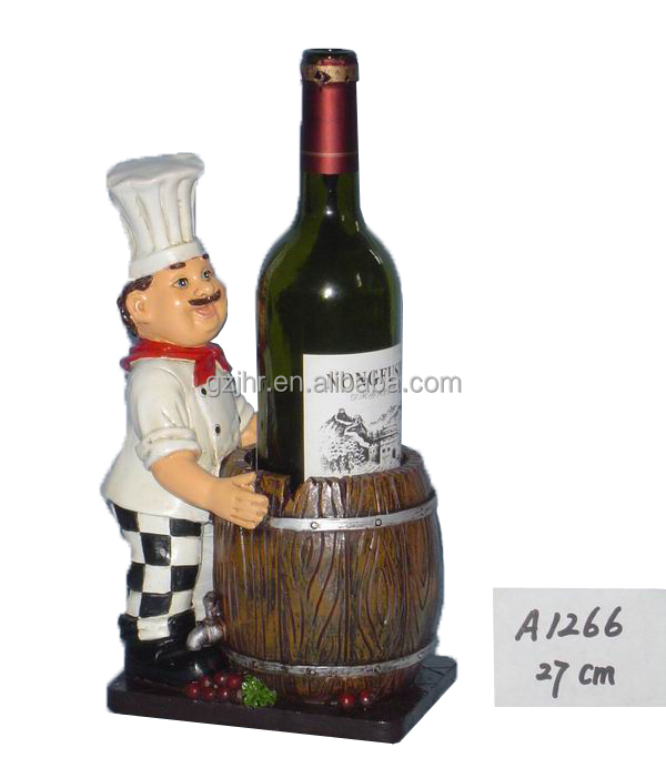 Tiny Unique Resin Chef Wine Bottle Holder