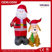 design hot sale darling dog darling inflatable Santa Claus