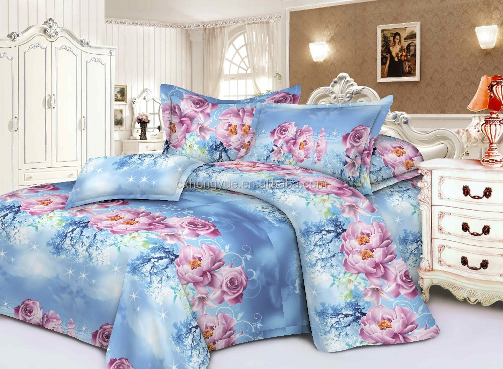Brazil Market Polyester bedsheet fabric with70gsm 75gsm pigment printing/Polyester printed textile fabrics