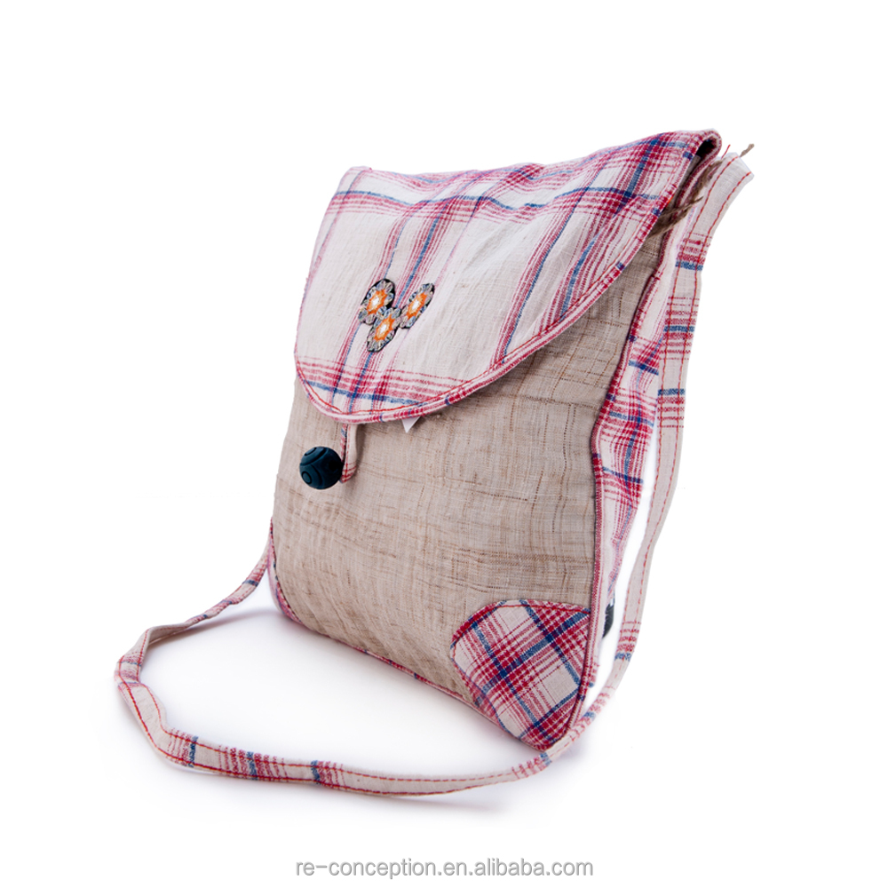 Durable Linen Folk Art Style Gingham Check Middle Size Messager Bag