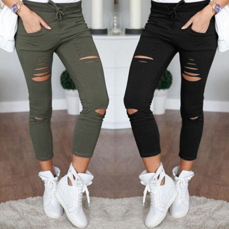Women's Fashion Broken-hole Stretch Pants Casual Slim Pencil Pants Elasticity Tights Sexy Women Pants
