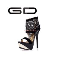 popular ultra high heels, soft material upper rhinestone decorated dress sandals for ladies
