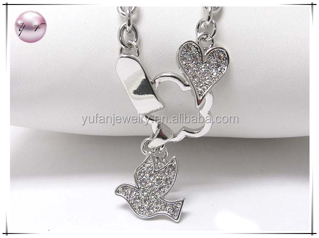 White gold plating crystal stud peace bird dangle necklace