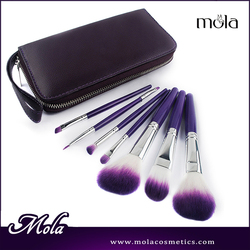 Best selling products 7pcs purple hair with plastic cover professional makeup brush
