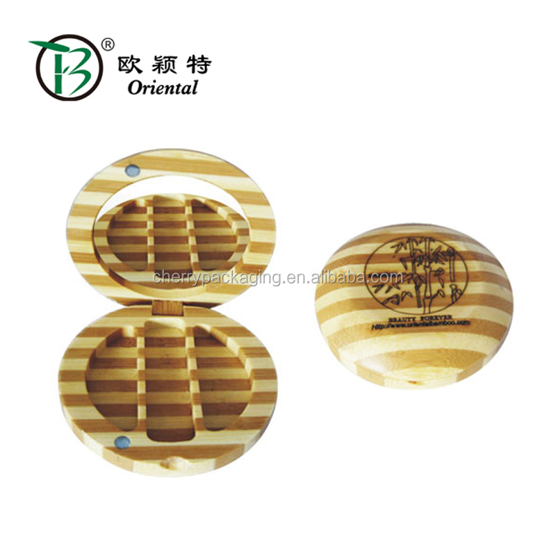 cosmetic wood box bamboo round case for eyeshadow