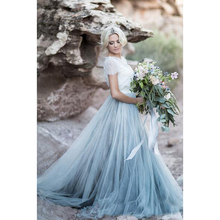 2018 Cheap Boho Beach Wedding Dress Lace And Soft Tulle Short Sleeves Light Sky Blue Bridal Gowns