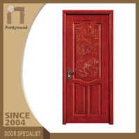 Wine Red Walunt Solid Wood Carving Living Comfort Room Door Design