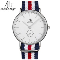 Customize Knit Nylon Strap Watch, D W Couple Watches, Stainless Steel Back Quartz Watch