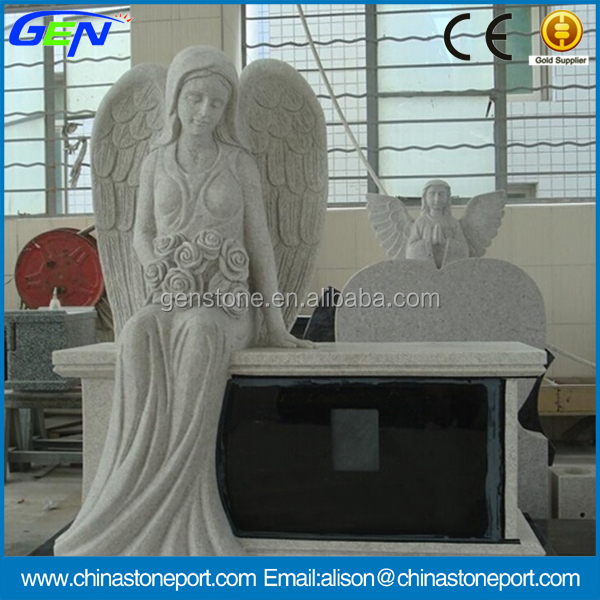 High Grade Sitting Angel Tombstone Bench Monument