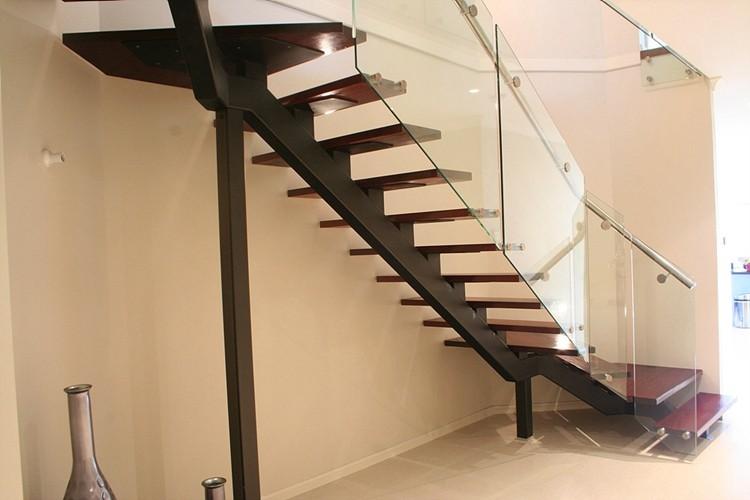 acero escalera de cristal monopasos de madera barandilla de vidrio escalerasl en