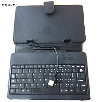 Fashion tendency Costom logo mini wired keyboard with Leather case for tablet pc