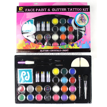 Professional Face Body Paint with Glitter Kit