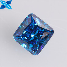 Top quality small size square shape blue topza color cubic zirconia