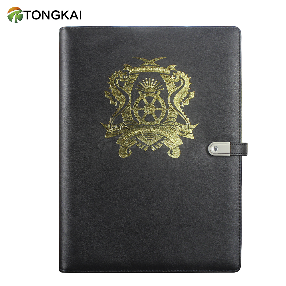 file folder with power bank and usb zippered padfolio pu leather a4 leather portfolio folder with power bank