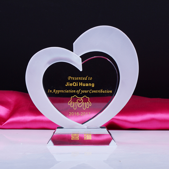 Heart shape crystal plaque glass award trophy with freely engrave wording and logo