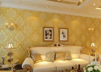Top grade Damascus pattern natural Non woven 3d wallpaper for home decoration