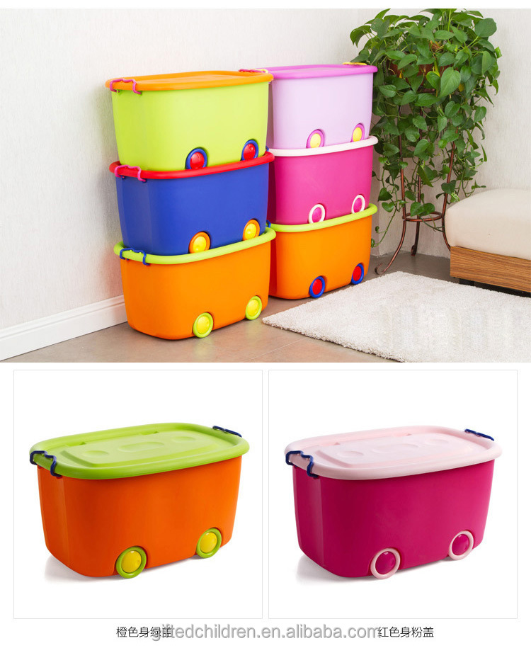 Kids Eco-friendly Plastic Toy Storage Box/Toy Chest Various Colors