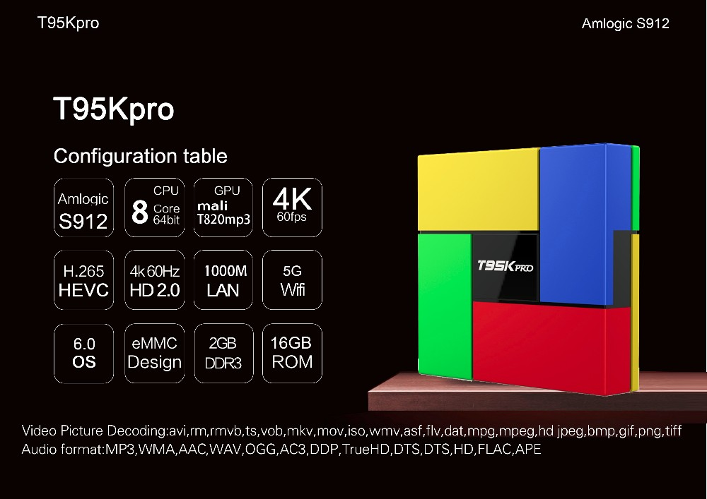 Android tv box T95K PRO with different color amlogic s912 2gb/16gb octa core android 6.0 tv