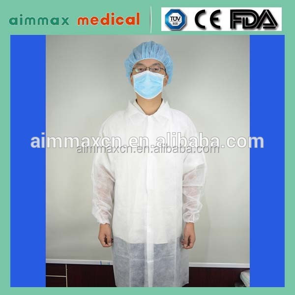Nonwoven long sleeve blue disposable lab coat for food industry