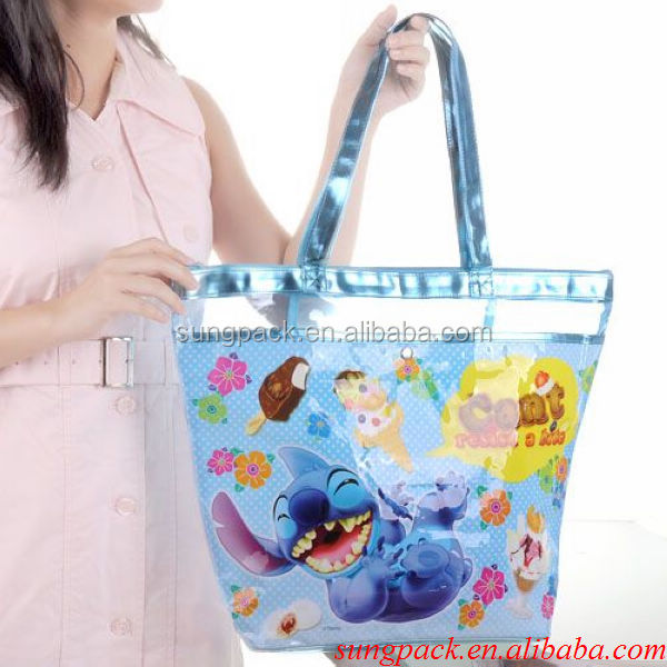 Fashion Beautiful PVC Beach Bag with Handle Ziplock Clear PVC Bag For Women Handbag Tote Bag