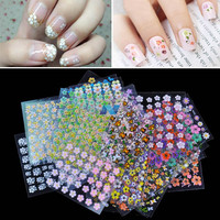 50 Sheet Mix Color Floral Design 3D Nail Art Stickers Decals Nail Art Decoration