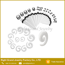 Wholesale acrylic spiral ear taper, piercing jewelry earring