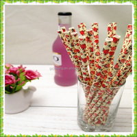 Party Decorate flower pattern 3 layer drinking paper straw