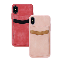 Handmade protective pu leather card holder back cover phone shell case