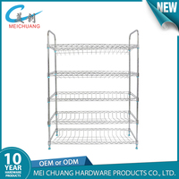 Home furniture easy assembled metal chrome plated iron wire mesh shoe rack