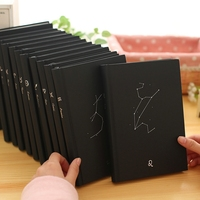 Black stationery paper hardcover school custom notebook
