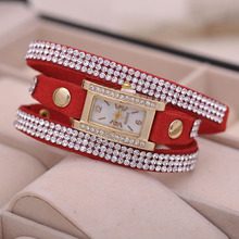 Rectangular Women Crystal Charming Korean Style Ladies Quartz Dress Watch