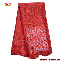 2016 Coral Red Tulle Lace Fabric For Women With Stones N1026