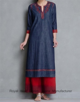 Royal wolf denim robe fabricant Indigo Paillettes et Rouge Poche Fantaisie Denim Kurta Jeans et Kurti Photos
