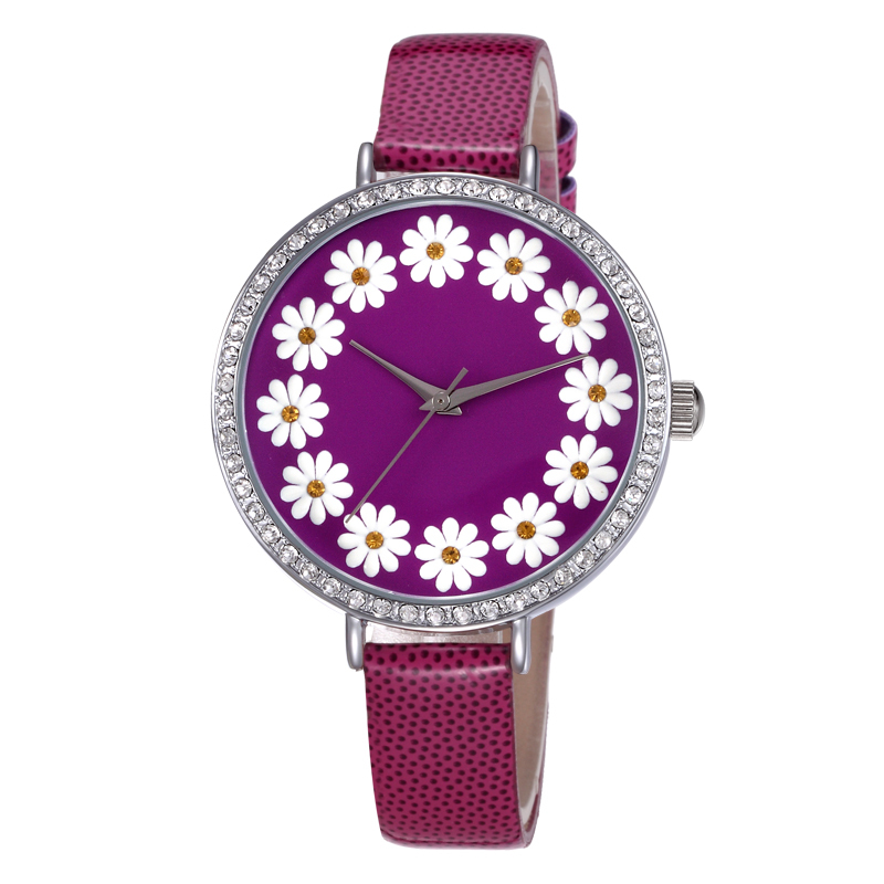 SKONE Round Flower Dial Colorful Leather Band Lady Woman Watch