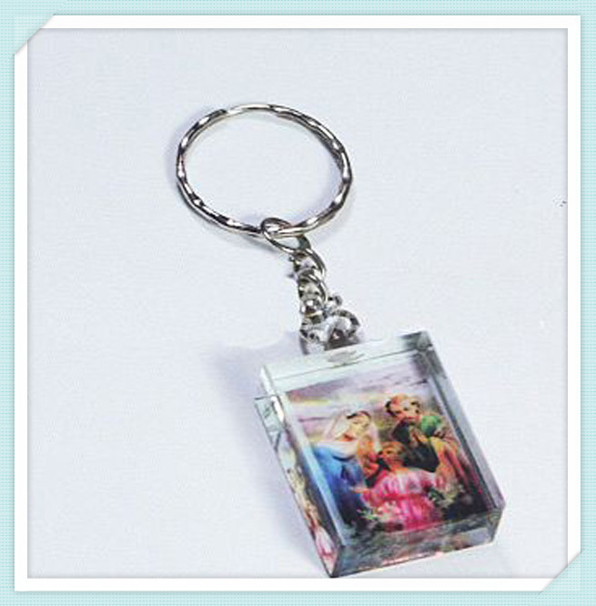 Cooperate Cheap Gift K9 Crystal Glass Customized Printed Key Chain