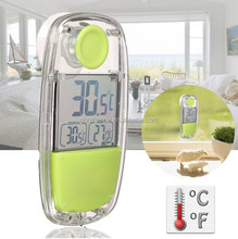 Solar Powered Window Thermometer Indoor digital LCD display Suction Cup F and C temperature Home Car Window